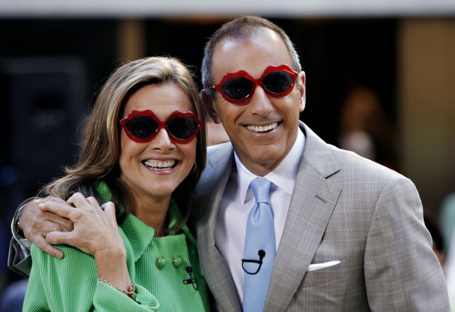 Matt Lauer and Veredith Vieira put on sunglasses before Katy Perry performs on the NBC Today show live from Rockefeller Center in New York City on July 24, 2009. (UPI Photo/John Angelillo)