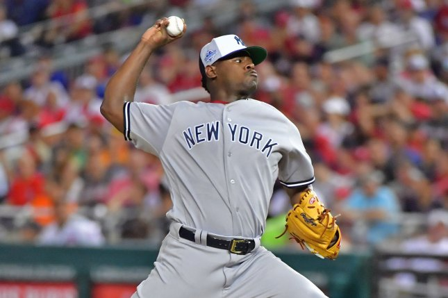 New York Yankees pitcher Luis Severino (40) delivers a pitch during the second inning of the MLB All-Star Game on July 17, 2018 at Nationals Park in Washington, D.C. Photo by Kevin Dietsch/UPI