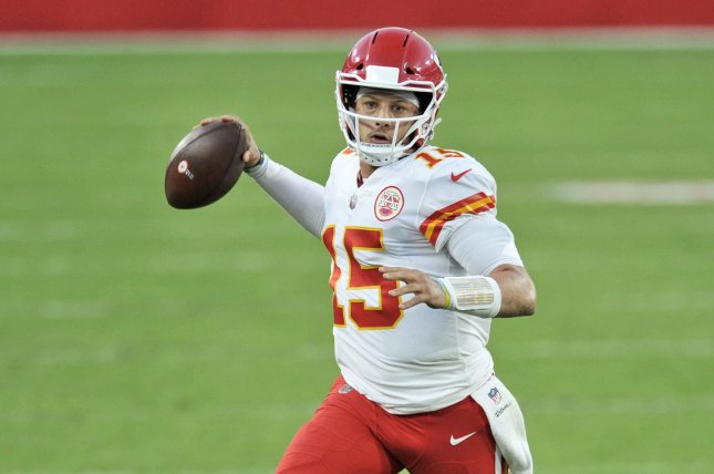 Kansas City Chiefs quarterback Patrick Mahomes was knocked out of last week's divisional-round win over the Cleveland Browns in the third quarter after taking an awkward hit on a running play. File Photo by Steve Nesius/UPI