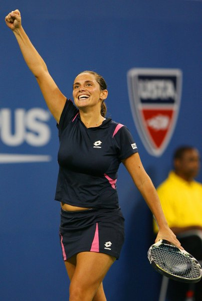 Roberta Vinci raises her fist after winning a game in her first round straight sets loss to Maria Sharapova during day 2 at the U.S. Open in New York City on August 28, 2007. (UPI Photo/John Angelillo) .
