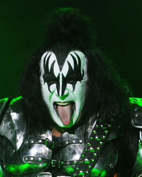 American singer/bass player Gene Simmons performs with Kiss at Wembley Arena in London. UPI/Rune Hellestad