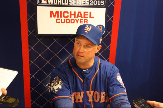 New York Mets left fielder Michael Cuddyer (23) speaks to the media during a press availability prior to game 1 of the World Series at Kauffman Stadium in Kansas City, Missouri on October 26, 2015. The Mets will play the Kansas City Royals in the World Series starting tomorrow. UPI/Jeff Moffett