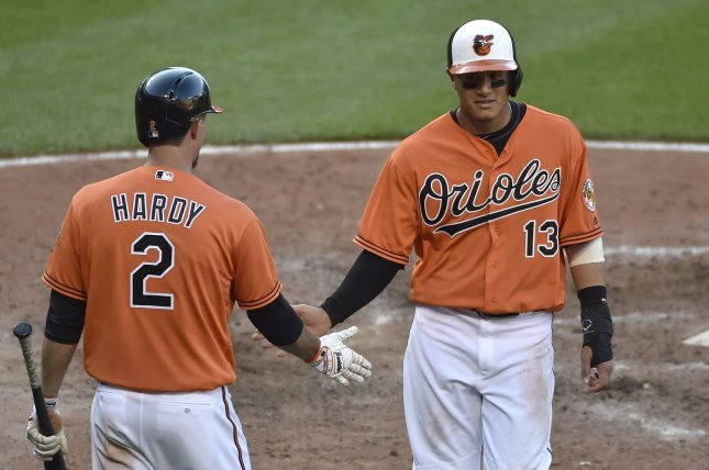 Baltimore Orioles' Manny Machado (13) is congratulated by teammate J.J. Hardy. Photo by David Tulis/UPI