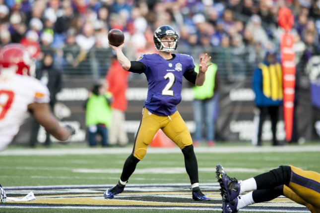 Baltimore Ravens' quarterback Jimmy Clausen passes during the fourth quarter against the Kansas City Chiefs' at M&M Bank Stadium on December 20, 2015 in Baltimore, Maryland. Kansas City won the game 34-14. Photo by Pete Marovich/UPI