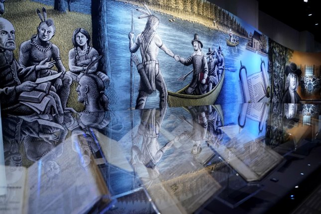 An exhibit on the spreading of religion is seen during a preview Wednesday at the Museum of the Bible in Washington, D.C. Photo by Kevin Dietsch/UPI