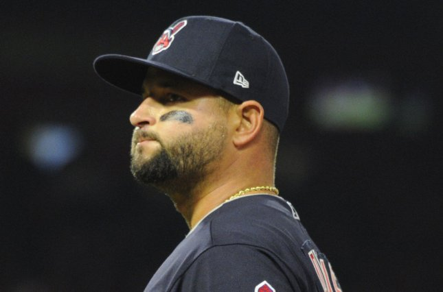 Cleveland Indians first baseman Yonder Alonso watches a foul ball during a game against the Los Angeles Angels on April 2, 2018 at Angel Stadium in Anaheim, California. Photo by Lori Shepler/UPI