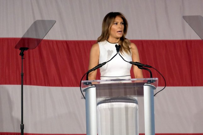 First lady Melania Trump delivers remarks at the luncheon of Palm Beach Atlantic University's 2020 Women of Distinction event at the Breakers Palm Beach, Fla., on Wednesday. Photo by Gary I Rothstein/UPI