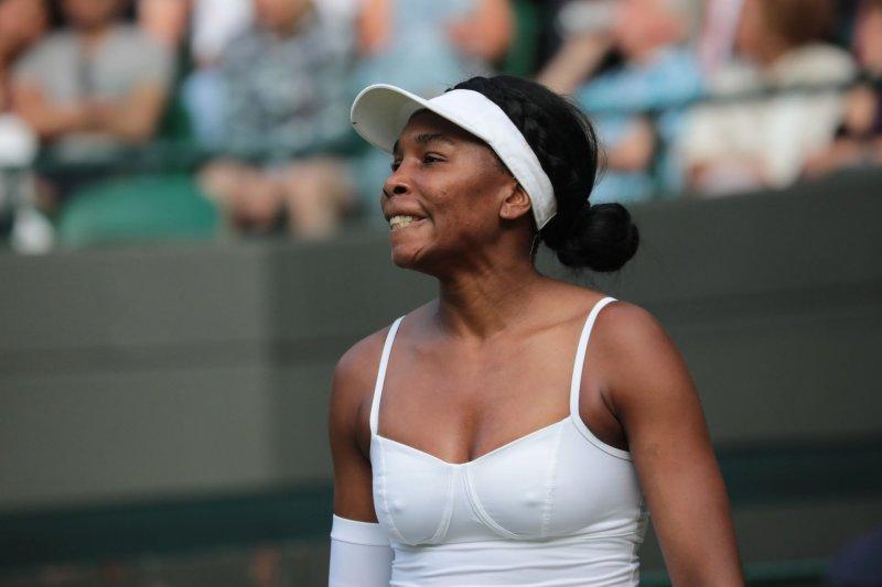 Venus Williams plays against fellow American Cori Gauff at Wimbledon on July 1. Williams turns 40 on June 17. File Photo by Hugo Philpott/UPI