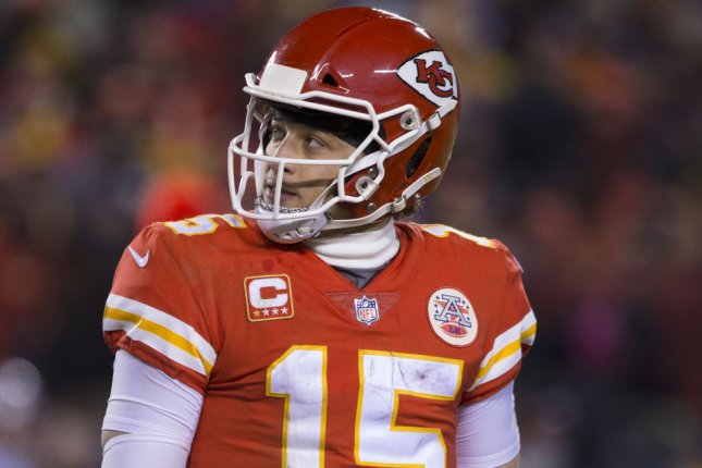 Kansas City Chiefs quarterback Patrick Mahomes became the first player in NFL history to have three touchdowns and zero interceptions in three consecutive season-opening games after his performance Thursday in Kansas City, Mo. File Photo by Kyle Rivas/UPI