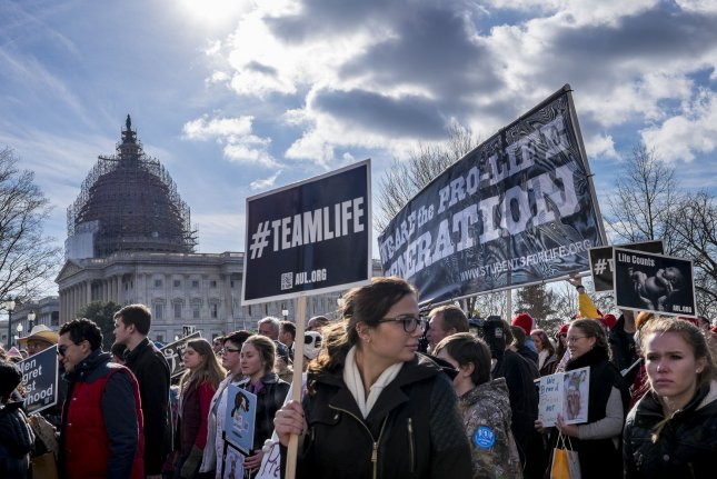 Anti-abortion activists take part in the 42nd March for Life in Washington, DC on Jan. 22. The House of Representatives on Wednesday passed legislation banning most abortions past 20 weeks of pregnancy. File photo by Pete Marovich/UPI