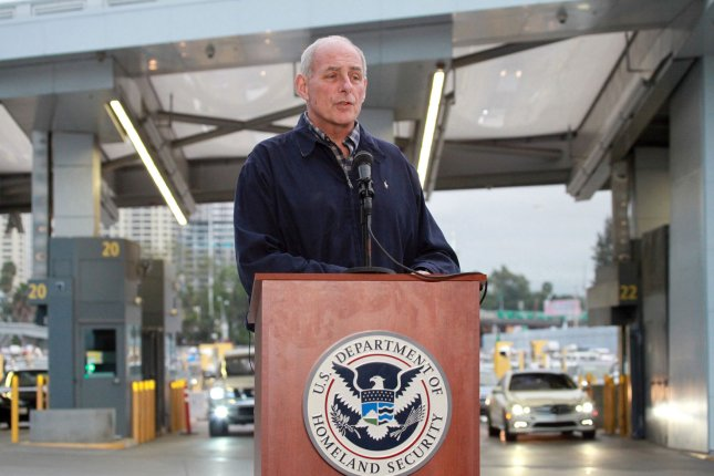 Secretary of Homeland Security John Kelly speaks with reporters during a press availability after meeting with federal, state and local law enforcement officials at the San Ysidro Port of Entry in San Ysidro, California on February 10, 2017. Photo by Howard Shen/UPI