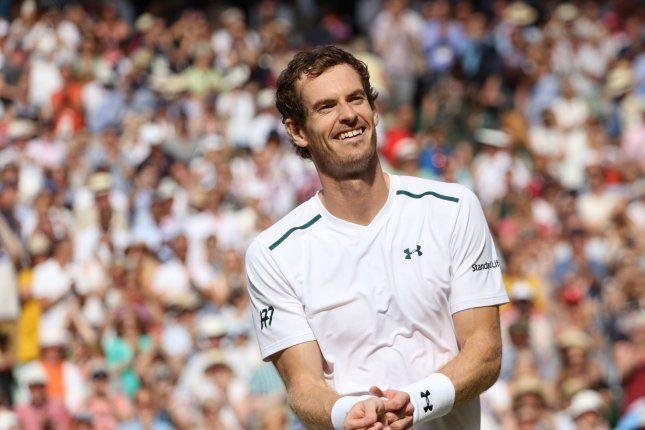 Great Britain's Andy Murray celebrates winning his match against France's Benoit Paire on day Seven of the 2017 Wimbledon championships, London on July 10, 2017. Photo by Hugo Philpott/UPI.
