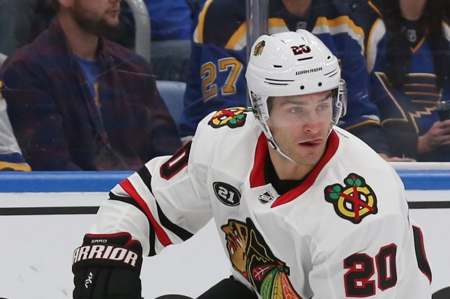 Chicago Blackhawks Chicago Blackhawks Brandon Saad brings the puck up ice in the first period against the St. Louis Blues at the Enterprise Center in St. Louis on October 6, 2018. Photo by Bill Greenblatt/UPI