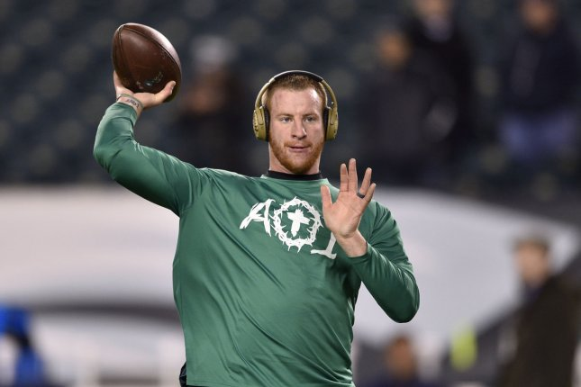 Philadelphia Eagles quarterback Carson Wentz warms up prior to a game against the Dallas Cowboys on November 11, 2018 at Lincoln Financial Field in Philadelphia. Photo by Derik Hamilton/UPI
