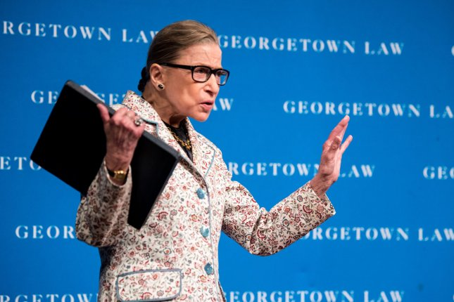 Supreme Court Associate Justice Ruth Bader Ginsburg was released from the hospital Tuesday. Photo by Kevin Dietsch/UPI