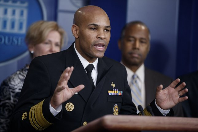 U.S. Surgeon General Vice Admiral Jerome Adams on Sunday compared the peak of coronavirus cases in the United States, expected to occur as soon as this week, to national tragedies such as Pearl Harbor and 9/11 as he urged Americans, including those in areas without statewide stay-at-home orders, to remain inside. Photo by Shawn Thew/UPI