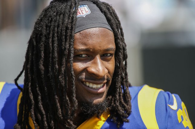 Former Los Angeles Rams running back Todd Gurley agreed to a one-year, $5.5 million contract with the Atlanta Falcons earlier this off-season. File Photo by Nell Redmond/UPI