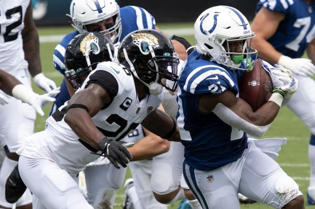Indianapolis Colts running back Nyheim Hines (21) will see an increased workload going forward and is worth a waiver claim entering Week 2 of the fantasy football season. File Photo by Joe Marino / UPI