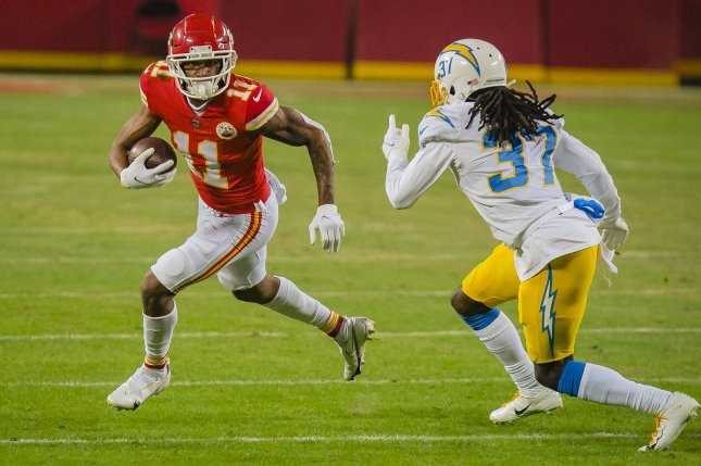 Kansas City Chiefs wide receiver Demarcus Robinson (11) practiced with the Chiefs on Friday for the first time since being placed on the COVID-19 list earlier this week as a high-risk close contact. File Photo by Kyle Rivas/UPI