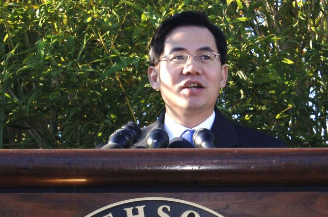 Zheng Zeguang speaks at the naming ceremony for the giant panda cub, Tai Shan, at the National Zoological Park in Washington on Oct. 17, 2005. File Photo by Kevin Dietsch/UPI