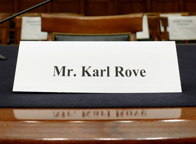 Former White House Deputy Chief of Staff Karl Rove's chair sits empty prior to a House Judiciary Committee Commercial and Administrative Law Subcommittee hearing on Politicization of the Justice Department and Allegations of Selective Prosecution on Capitol Hill in Washington on July 10, 2008. Rove was subpoenaed to testify but did not appear. (UPI Photo/Roger L. Wollenberg)