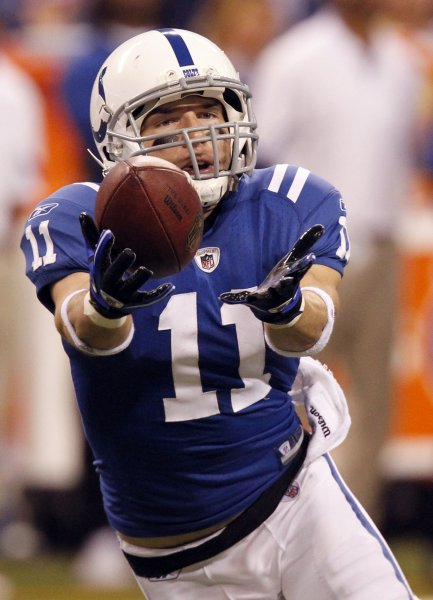 Indianapolis Colts wide receiver Anthony Gonzalez (11) makes a 34-yard catch in the Colts 30-17 win over the Houston Texans at Lucas Oil Field in Indianapolis on November 1, 2010. UPI /Mark Cowan