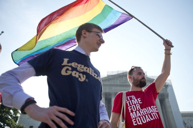 Gay rights supporters rally in front of the Supreme Court in Washington, D.C on, June 26, 2013. UPI/Kevin Dietsch