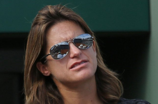 Amelie Mauresmo, former coach of Andy Murray, watches the French Open men's first round match between Murray and Facundo Arguello of Argentina at Roland Garros in Paris on May 25, 2015. Photo by David Silpa/UPI