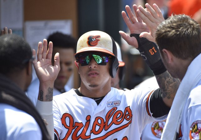 Manny Machado and the Baltimore Orioles out-slugged the Los Angeles Angels on Friday. Photo by David Tulis/UPI