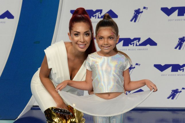 Farrah Abraham (L), pictured with daughter Sophia, called out Viacom after she was reportedly led to believe she was let go from Teen Mom OG. File Photo by Jim Ruymen/UPI
