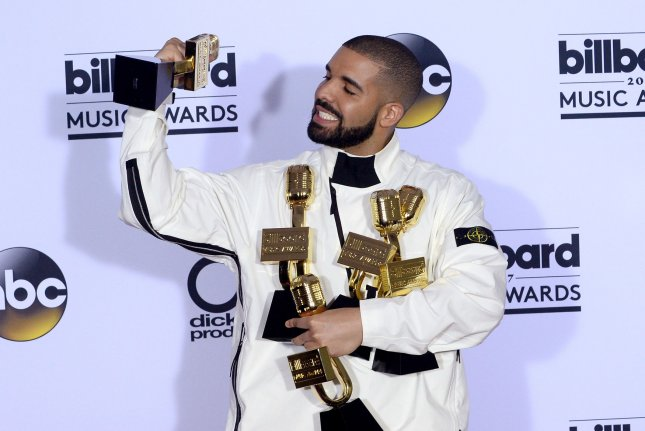 Drake's Scorpion is the No. 1 album in North America for a third week. File Photo by Jim Ruymen/UPI
