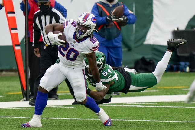 Buffalo Bills running back Zack Moss (20) recorded 576 total yards and five touchdowns during his rookie season in 2020. File Photo by Corey Sipkin/UPI