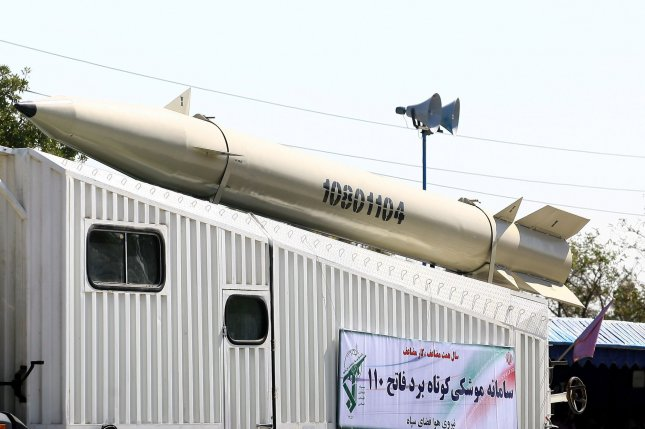 Third generation Fateh-110 surface-to-surface missile is displayed during the annual military parade on September 22,2010 in Tehran,Iran that mark the beginning of the 1980-1988 war between Iran and Iraq. UPI/Maryam Rahmanian