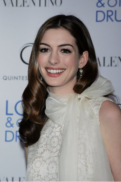 Anne Hathaway arrives for the premiere of Love & Other Drugs at the Directors Guild of America Theater in New York on November 16, 2010. UPI /Laura Cavanaugh