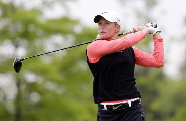 Suzann Pettersen, shown in a 2011 file photo, moves to second in the world women's golf rankings after winning the Evian Championship in France. UPI/John Angelillo