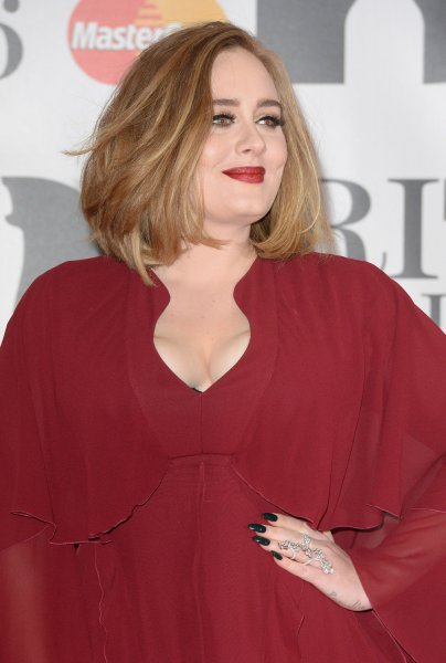 British singer Adele attends the Brit Awards at O2 Arena in London on February 24, 2016. Photo by Rune Hellestad/UPI