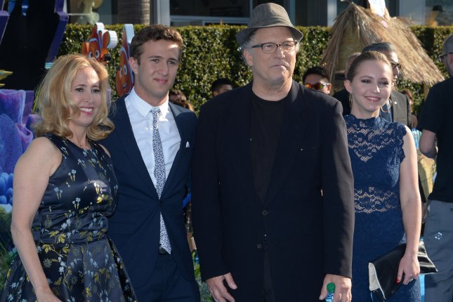 Cast member Albert Brooks, the voice of Marlin, his wife Kimberly Shlain and their son Jacob and daughter Claire attend the premiere of the animated motion picture comedy Finding Dory in Los Angeles on June 8, 2016. Photo by Jim Ruymen/UPI