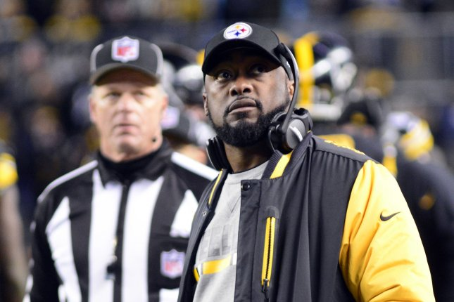 Pittsburgh Steelers head coach Mike Tomlin watches the replay of Steelers wide receiver Antonio Brown's catch in the fourth quarter of the Steelers' 31-28 win against the Green Bay Packers at Heinz Field in Pittsburgh on November 26, 2017. File photo by Archie Carpenter/UPI