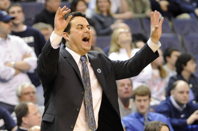 Arizona Wildcats coach Sean Miller reacts to a referees call with a minute remaining in the second half against Purdue on March 22, 2008 at Verizon Center in Washington, D.C. File photo by Mark Goldman/UPI