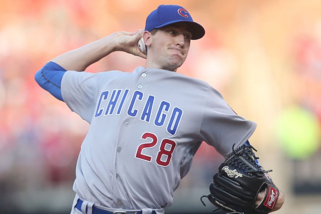 Kyle Hendricks and the Chicago Cubs take on the St. Louis Caridnals on Friday. Photo by Bill Greenblatt/UPI