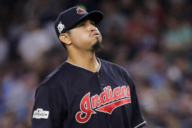 Carlos Carrasco and the Cleveland Indians take on the Kansas City Royals on Sunday. Photo by Ray Stubblebine/UPI