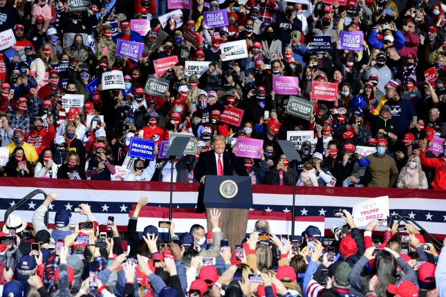 President Donald Trump addresses his supporters during a rally at the John Murtha Johnstown-Cambria County Airport, near Johnstown, Pa., on Tuesday. Photo by Archie Carpenter/UPI