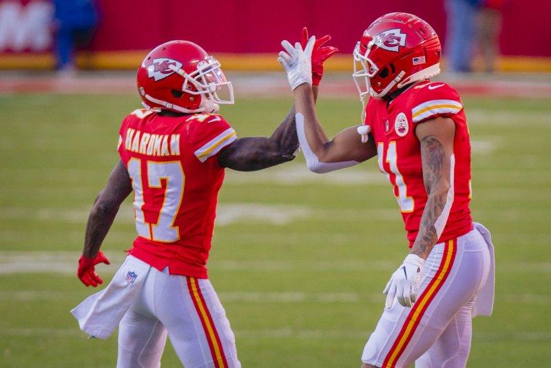 Kansas City Chiefs wide receiver Demarcus Robinson (11) celebrates with teammate Mecole Hardman (17) in the fourth quarter Sunday at Arrowhead Stadium in Kansas City. Photo by Kyle Rivas/UPI