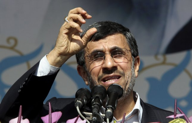 President Mahmoud Ahmadinejad is urging voters to vote in Iran's next presidential election. file photo. UPI/Maryam Rahmanian