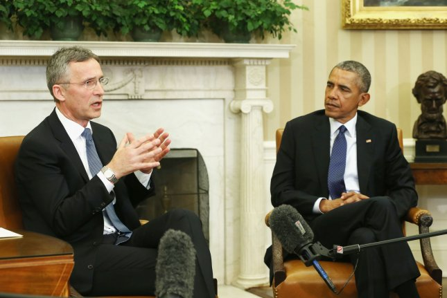 President Barack Obama meets with NATO Secretary-General Jens Stoltenberg in the Oval Office at the White House on April 4, 2016, to discuss how NATO can assist in the fight against the Islamic State. Tuesday, Stoltenberg said NATO has designated cyberspace as an official frontier for warfare, making computer-related attacks eligible for an Article 5 defense response by the 28-member organization. Pool photo by Mark Wilson/UPI