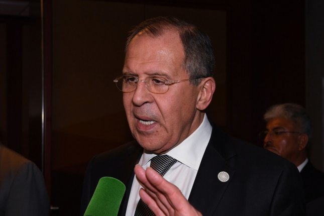 Russian Foreign Minister Sergey Lavrov answers questions November 17 after his bilateral meeting with former U.S. Secretary of State John Kerry. Lavrov on Monday said the Kremlin objects to U.S. President Donald Trump's statement that Iran is the No. 1 terrorist state. Pool photo by Mark Ralston/UPI