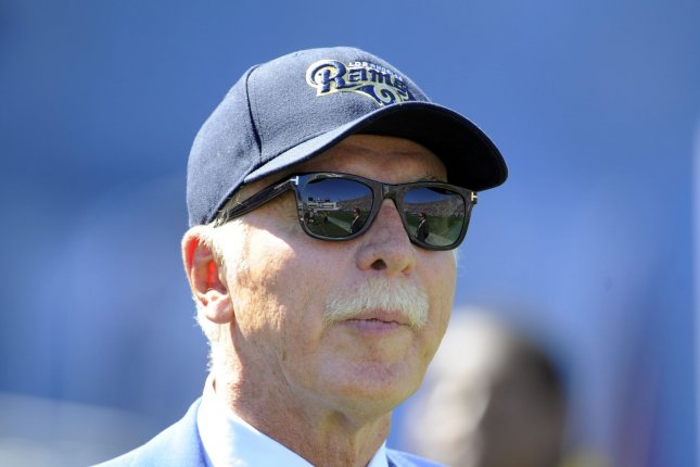 Los Angeles Rams owner Stan Kroenke watches the game against the Seattle Seahawks at the Los Angeles Coliseum on September 18, 2016. Photo by Lori Shepler/UPI