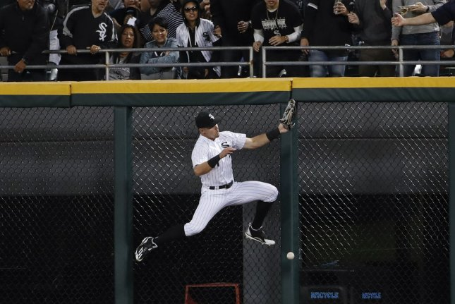 Chicago White Sox center fielder Adam Engel had the most putouts among American League outfielders in 2018. He stole a spring training home run from Pablo Sandoval in a loss to the San Francisco Giants on Monday in Glendale, Ariz. File Photo by Kamil Krzaczynski/UPI