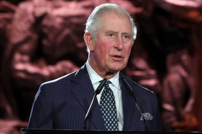 Britain's Prince Charles speaks at the Yad Vashem Holocaust museum in Jerusalem, Israel, on January 23. Royal officials said Wednesday he has tested positive for the coronavirus disease. File Photo by Abir Sultan/UPI/Pool