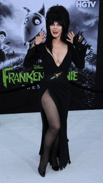 Elvira attends the premiere of Frankenweenie at the El Capitan Theatre in the Hollywood section of Los Angeles on September 24, 2012. The actor turns 70 on September 17. File Photo by Jim Ruymen/UPI